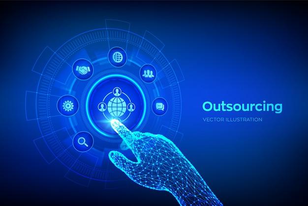Externalisation et rh. entreprise de recrutement mondial et concept internet sur écran virtuel. main robotique touchant l'interface numérique.