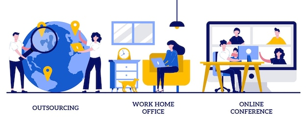 Externalisation, travail à domicile, concept de conférence en ligne avec des personnes minuscules. jeu d'illustration abstraite de travail à distance. travail indépendant, réunion numérique d'équipe, entreprise informatique, plateforme internet.