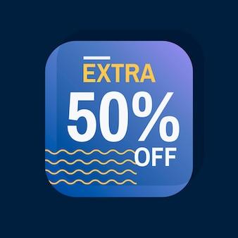 Extra 50% sur le vecteur de badge de vente