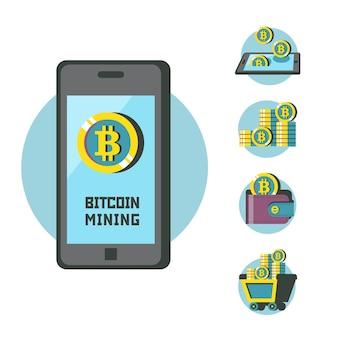 Extraction de bitcoins. la crypto-monnaie est la monnaie du futur. smartphone et bitcoins. illustration vectorielle conceptuelle. icônes de minage de bitcoin.
