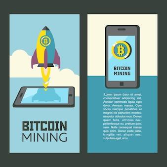 Extraction de bitcoins. illustration conceptuelle. icônes minières bitcoin. clipart vectoriel.