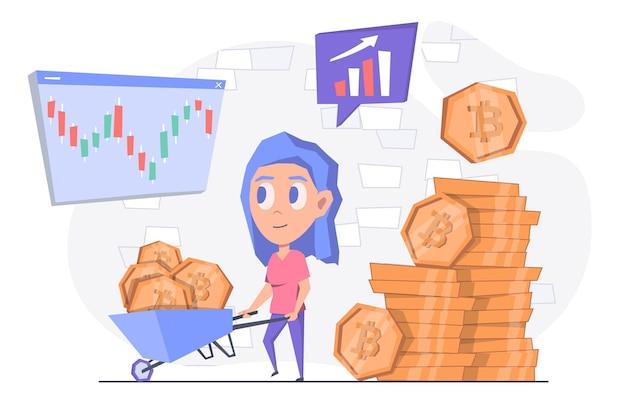 Extraction de crypto-monnaie une femme tire un chariot avec une crypto-monnaie