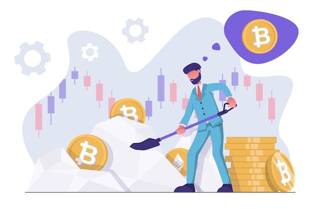 Extraction de crypto-monnaie un homme d'affaires avec une pelle extrait une crypto-monnaie