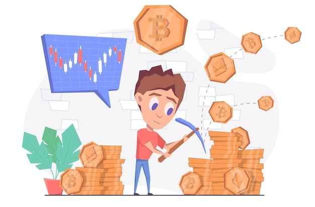 Extraction de crypto-monnaie un homme avec une pioche exploite une crypto-monnaie