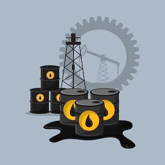 Extraction de l'huile de pétrole et raffinement icônes connexes emblème