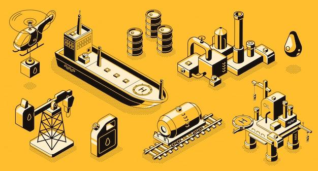 Extraction de pétrole et raffinerie, transports de l'industrie pétrolière, dessins au trait et bâtiments
