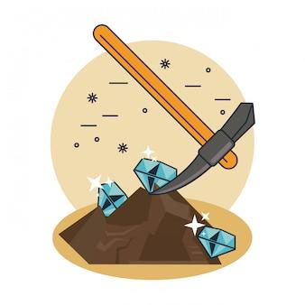 Extraction de pioche de diamants