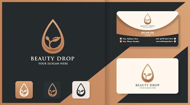 Extrait d'huile de feuille ou logo d'huile d'olive et conception de carte de visite