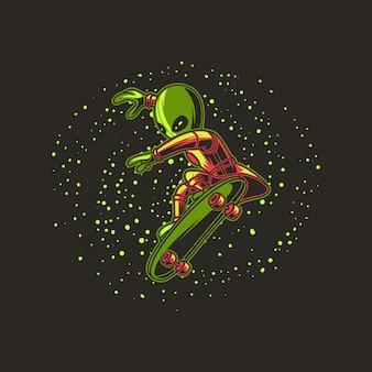 Extraterrestre avec illustration de skateboard galaxie