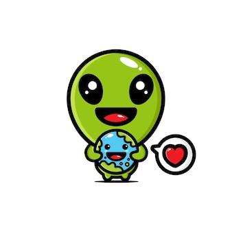 Des extraterrestres mignons embrassent la terre pleine d'amour