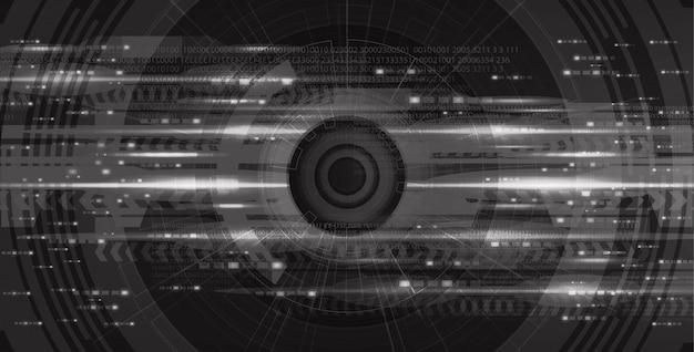 Eye camera cyber hi-tech sur le fond de la future technologie noire, la sécurité de la caméra et la conception du concept de robot, illustration.