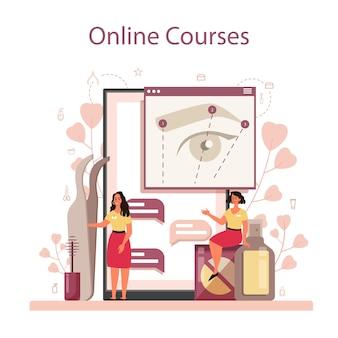 Eyebrow master and er service ou plateforme en ligne. maître faisant un front parfait. idée de beauté et de mode. cours en ligne.