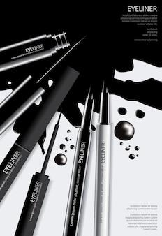 Eyeliner cosmétique affiche avec Illustration vectorielle de conditionnement