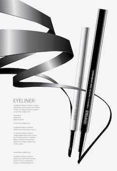 Eyeliner cosmétique avec emballage illustration du design d'affiche