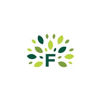 F lettre arbre feuille nature marque logo vert icône vector illustration