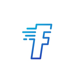 F lettre dash rapide rapide marque numérique ligne contour logo icône vector illustration
