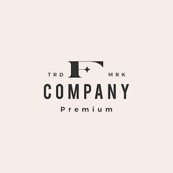 F lettre étoile hipster logo vintage