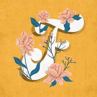 F lettre florale créative de l'alphabet