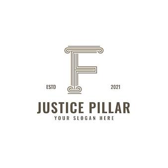 F lettre logo justice et cabinet d'avocats pilier audacieux dessin au trait professionnel