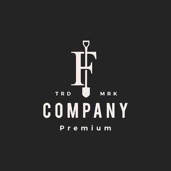 F lettre marque pelle bêche hipster logo vintage icône illustration vectorielle