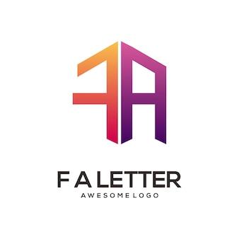 Fa lettre logo initiales abstrait dégradé coloré