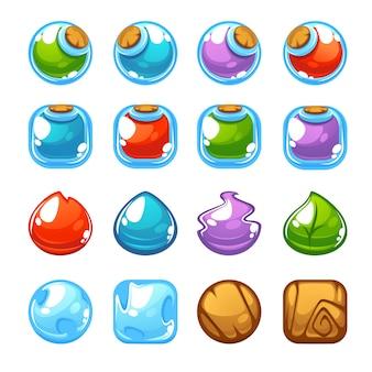 Fabricant de potions, jeu de tir à bulles, objets vectoriels et blocs