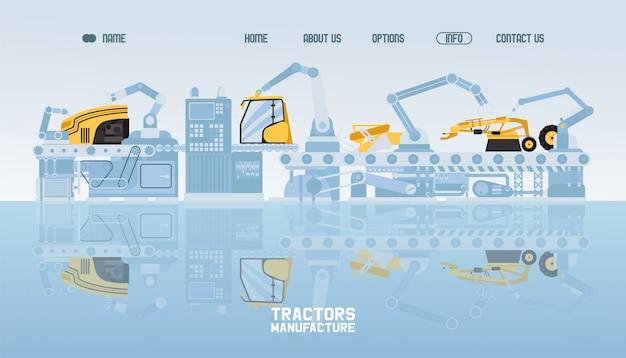 Fabricants de tracteurs et moissonneuses-batteuses, illustration plate. production d'équipements industriels. entreprise agricole, industrie.