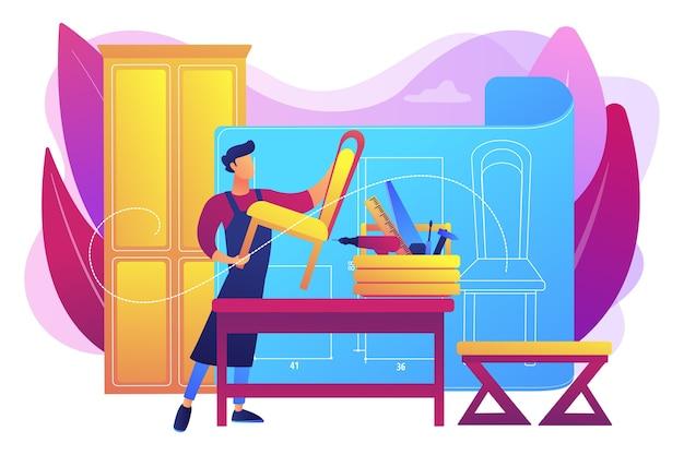 Fabrication de chaises. décorateur d'intérieur. atelier de menuiserie. meubles sur mesure, meilleurs meubles sur mesure, concept de maîtres fabricants de meubles.