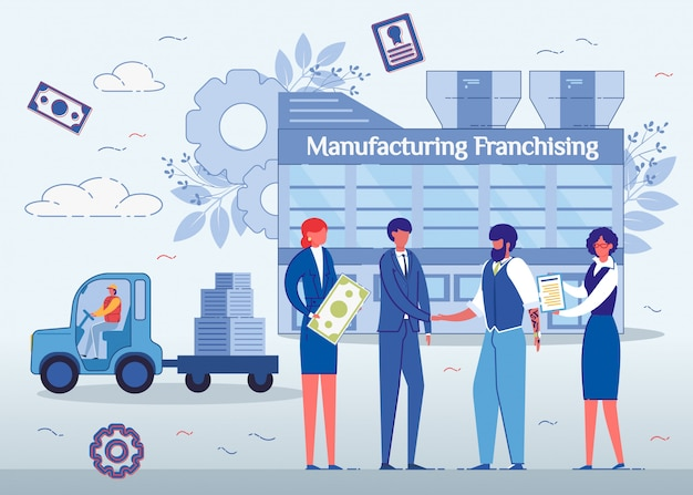 Fabrication de franchise, hommes se serrant la main.