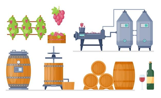 Fabrication d'usine de processus de production de vin