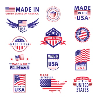 Fabriqué aux états-unis. drapeau fabriqué amérique états américains drapeaux produit badge qualité étiquettes patriotiques emblème autocollant ruban étoile, ensemble