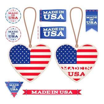 Fabriqué aux états-unis, étiquettes volantes et emblèmes.