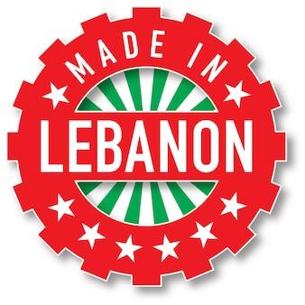 Fabriqué dans le timbre de couleur du drapeau du liban. illustration vectorielle