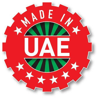 Fabriqué dans le timbre de couleur du drapeau des émirats arabes unis. illustration vectorielle