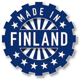 Fabriqué dans le timbre de couleur du drapeau de la finlande. illustration vectorielle