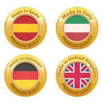 Fabriqué en espagne, italie, allemagne, royaume-uni set de badges