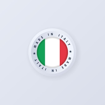 Fabriqué en italie. emblème de qualité italienne, étiquette, signe, bouton, badge. drapeau de l'italie.