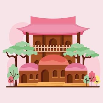 Façade d'architecture asiatique