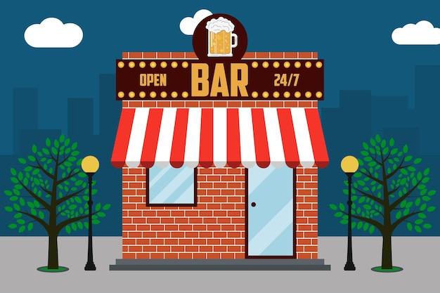 Façade de bâtiment de bar à bière avec enseigne avec verre d'arbres de lampadaires de bière
