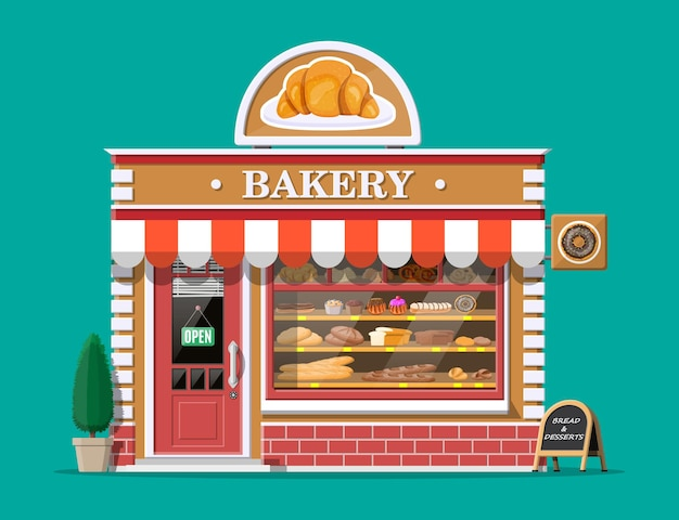 Façade de bâtiment de boulangerie avec enseigne. boulangerie, café, pain, pâtisserie et desserts. vitrines avec divers produits de pain et de gâteaux. marché ou supermarché. illustration plate