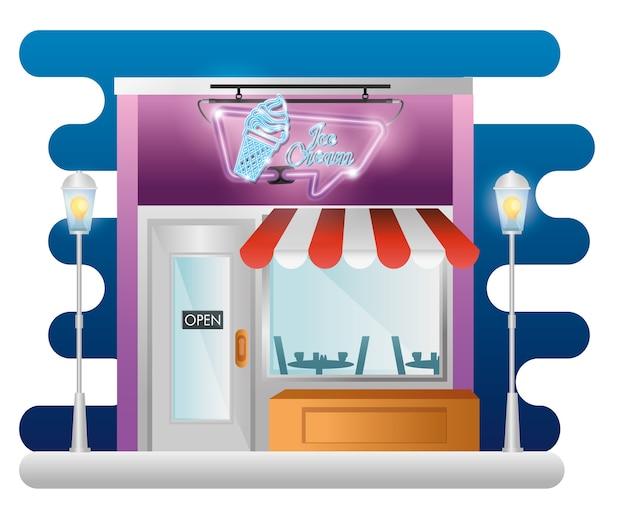 Façade de bâtiment de magasin de crème glacée avec étiquette néon