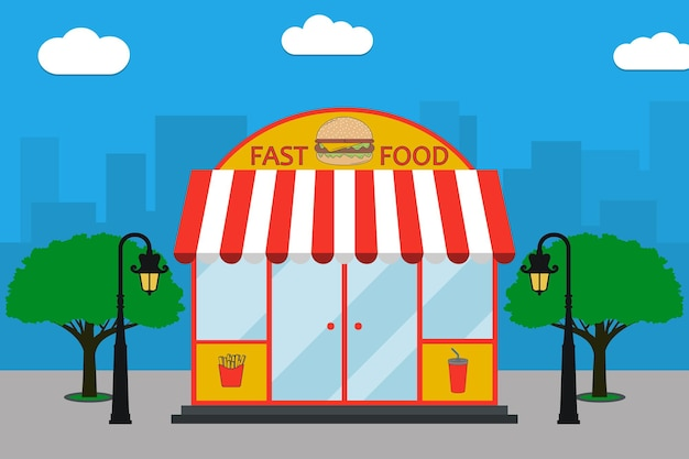 Façade de bâtiment de restauration rapide avec enseigne avec hamburger frites soda cup lampadaires arbres