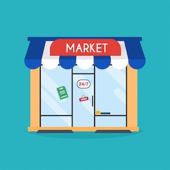 Façade de la boutique du marché.