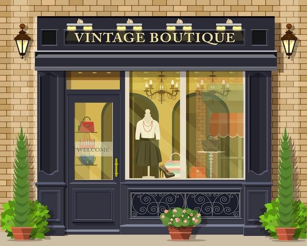 Façade de boutique vintage design plat détaillé. extérieur de magasin de mode graphique cool.