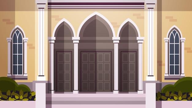 Façade contemporaine de l'architecture de l'église catholique religion chrétienne culture concept illustration vectorielle horizontale