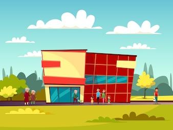 Façade de bâtiment de supermarché de centre de commerce de dessin animé et de personnes avec panier