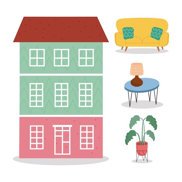 Façade du bâtiment avec illustration d'icônes set forniture