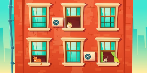 Façade du bâtiment avec mur de briques et fenêtres