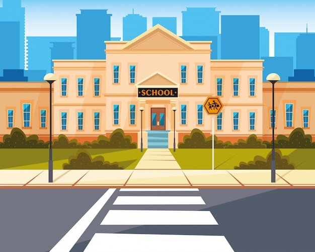 Façade de l'école avec route