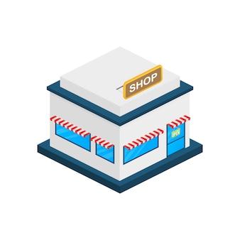 Façade extérieure du magasin ou du marché.
